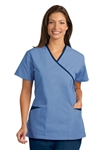 Fashion Seal - Ladies Ciel/Navy Trim Crossover Tunic Scrub Set. FS-SCRUBSET48 - PETITE