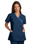 Fashion Seal - Ladies Navy/Ciel Trim Crossover Tunic Scrub Set. FS-SCRUBSET49 - PETITE