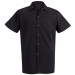 Red Kap - Unisex Black Spun Poly Short-sleeve cook Shirt. 5035BK