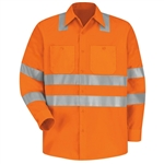 Red Kap - Long-Sleeve Hi-Visibility Work Shirt Class 3 Level 2. SS14OF