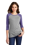 District Made - Ladies Pefect Tri 3/4-Sleeve Raglan DM136L