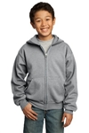 Port & Company - Youth Full-Zip Hooded Sweatshirt. PC90YZH