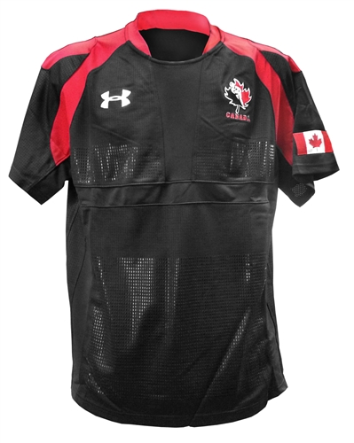 Under armour rugby canada black jersey for Under armour shirts canada