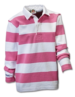 Barbarian classic ladies white pink 3 stripe for Pink and purple striped rugby shirt