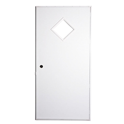 Elixir 200 Series Exterior Out Swing Door White on Brown with 10 x 10 Diamond Window