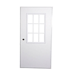 Elixir 200 Series Exterior Out Swing Door White on White Door with Cottage Window