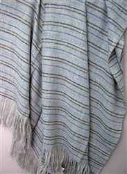 Wool Striped Throw Blanket, Our Striped Cote D'Azure is Soft and Luxurious, All Natural with No Synthetics