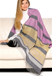 100% Baby Alpaca Lurex Stripe Multi-Color Throw, All Natural