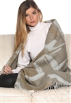 100% Baby Alpaca Abstract Jacquard Throw - No Synthetics or Chemical Dyes
