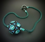 Dodecahedron Beaded Bead Necklace Kit, lagoon & black