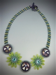 Flower Power Necklace Kit, purple & green