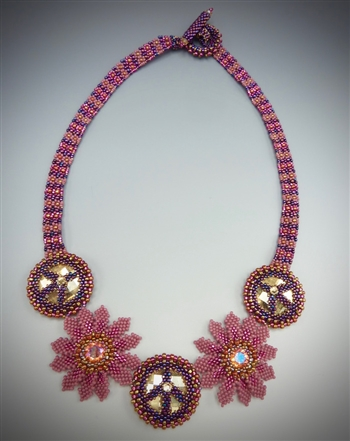 Flower Power Necklace Kit, pink & plum