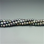 "3.5-4mm round peacock blue fresh water pearls, one 16"" strand"