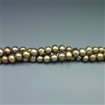 "6mm round khaki green fresh water pearls, one 16"" strand"