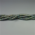 "2x4mm button forest green fresh water pearls, one 16"" strand"