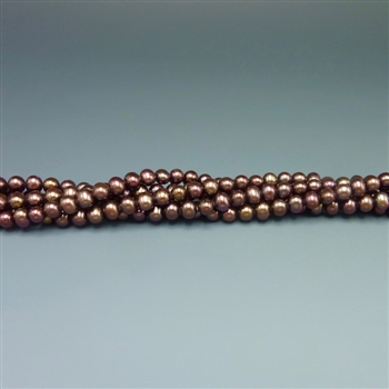 "4.5mm round chocolate brown fresh water pearls, one 16"" strand"