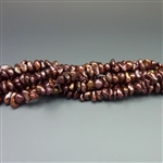 "7-8mm keshi chocolate brown fresh water pearls, one 16"" strand"