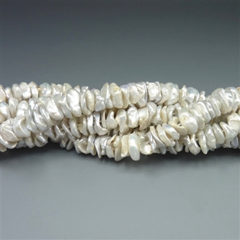 "9-10mm keshi natural silver fresh water pearls, one 16"" strand"