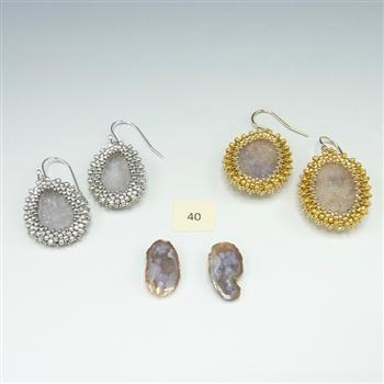 One-of-a-Kind Geode Earrings Kit, geode pair #40