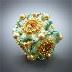 """Geo-Floral"" Beaded Bead Kit, blue & gold"