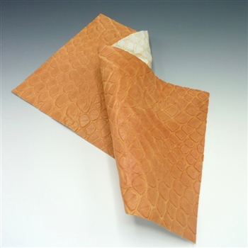 "Orange embossed ""crocodile"" leather, 6x12 inch rectangle"