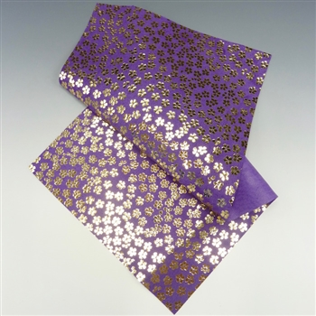 Purple Leather with gold foil flowers, 6x12 inch rectangle