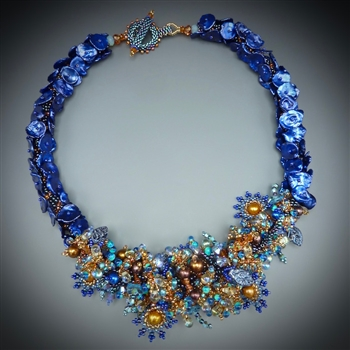 Keshi Pearl Necklace Kit, limited edition blue, turquoise & clementine