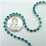 Swarovski Cup Chain, 24pp, blue zircon rhodium, 12 inches