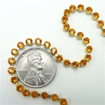 Swarovski Cup Chain, 24pp, tangerine gold, 12 inches