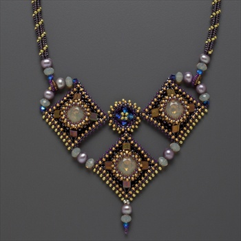 Trois Diamants Necklace Kit, sand & purple - final restock!