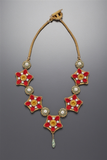 Tudor Rose Necklace Kit, red, white and gold