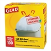 Tall Kitchen Drawstring Bags, 24 x 27 3/8, 13gal, .95mil, White, 100/Box