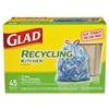Tall Kitchen Blue Recycling Bags, Drawstring, 13 gal, 0.90 mil, 45/Box