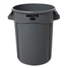 Round Brute Container, Plastic, 32 gal, Gray