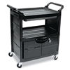 Utility Cart With Locking Doors, Two-Shelf, 33-5/8w x 18-5/8d x 37-3/4h, Black