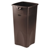 Untouchable Waste Container, Square, Plastic, 23gal, Brown