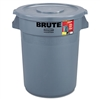 Brute Container All-Inclusive, Round, Plastic, 32gal, Gray