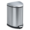 Step-On Waste Receptacle, Triangular, Stainless Steel, 4gal, Chrome/Black