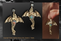 Dragon earrings by wildlife artist Daniel C. Toledo, Toledo Wildlife Works of Art