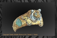 "Tiger Bracelet ""Tiger Watch"" by wildlife artist jeweler Daniel C. Toledo, Toledo Wildlife Works of Art"