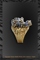 "Tiger Ring ""Tiger Got Your Stone"" by wildlife artist jeweler Daniel C. Toledo, Toledo Wildlife Works of Art"