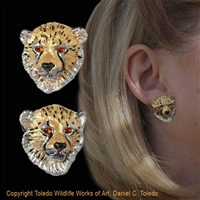 "Cheetah Cub Earrings ""Gloria's Cuties"" by wildlife artist Daniel C. Toledo, Toledo Wildlife Works of Art"