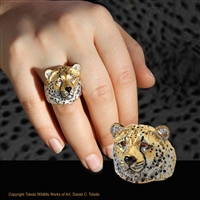 "Cheetah head ring ""Swift"" by wildlife jeweler and artist Daniel C. Toledo of Toledo Wildlife Works of Art features rhodium and 22k gold plated over sterling silver, black enamel, citrine eyes.  Limited edition of 250"