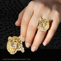 "Cougar Ring ""Kat's Cougar"" by wildlife artist and jeweler Daniel C. Toledo, Toledo Wildlife Works of Art"