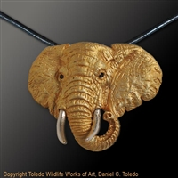 "Elephant Pendant ""Lord of the Plains"" by wildlife artist and jeweler Daniel C. Toledo, Toledo Wildlife Works of Art"