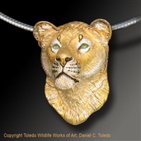 "Lion Pendant ""Kalahari Queen"" by wildlife artist and jeweler Daniel C. Toledo, Toledo Wildlife Works of Art"