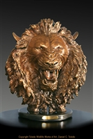 "Lion bronze sculpture ""The Roar of Africa"" by wildlife sculptor Daniel C. Toledo, Toledo Wildlife Works of Art"