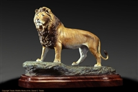 "Limited edition bronze lion sculpture ""King of the Kalahari"" by wildlife sculptor Daniel C. Toledo, Toledo Wildlife Works of Art"