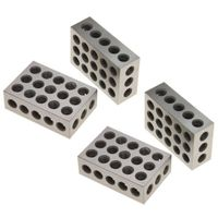 "1-2-3 Blocks Matched Pair Hardened Steel 23 Holes (1""x2""x3"") 123 Set Precision Machinist Milling, 2 Pair"