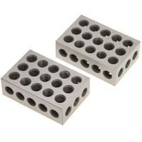 "1-2-3 Blocks Matched Pair Hardened Steel 23 Holes (1""x2""x3"") 123 Set Precision Machinist Milling, 1 Pair"